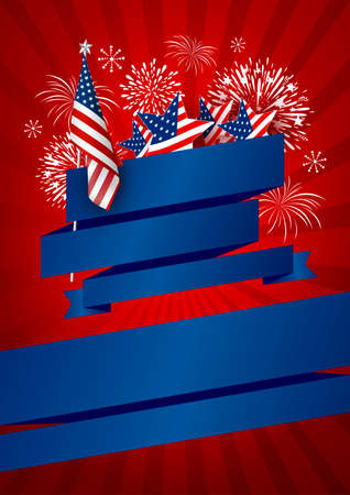USA banner design of america flag and fireworks with blank blue ribbon on red background vector illustration Foto de archivo - 98774482