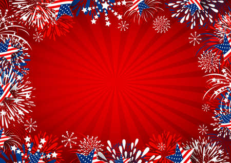 USA background design of star and fireworks on red background vector illustration Çizim