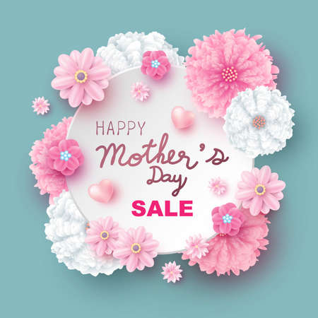 Mother's day sale design of flowers vector illustration