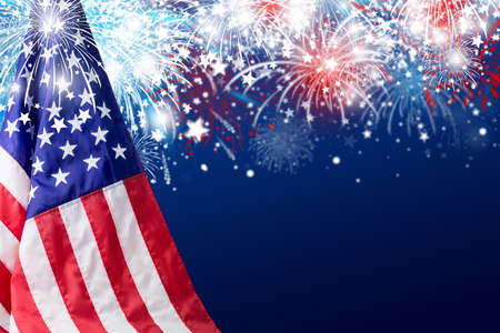 USA 4 july independence day design of american flag with fireworks background  Stock Photo