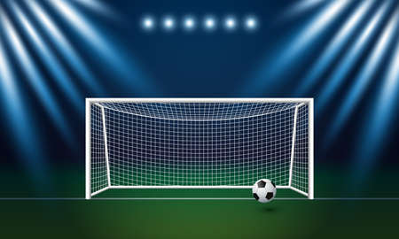 Soccer goal and football with spotlight background in stadium vector illustration Illustration