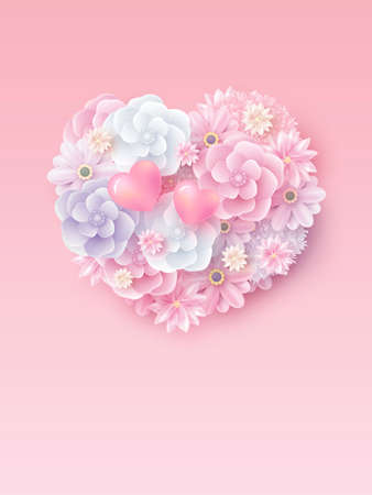 Mothers day and valentines wedding concept design of flowers in hearts shape with copy space vector illustration Illustration
