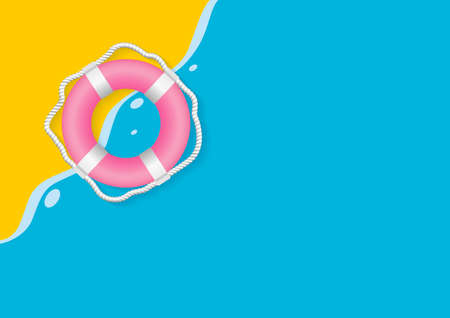 Summer concept design of life belt on yellow and blue background minimal style vector illustration