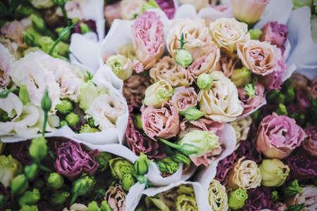 Lisianthus flowers pastel color background