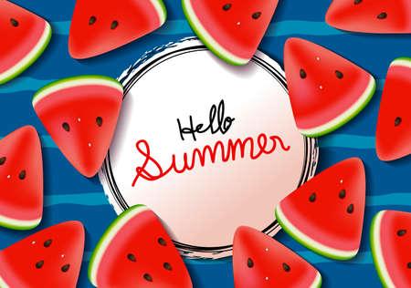 Wassermelonenhintergrundsommerfahne Vektorgrafik