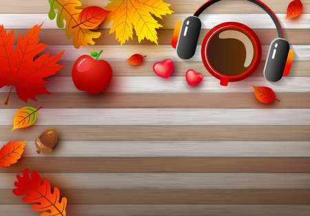 Autumn background design of coffee cup and earphone with leaves fall on wood table vector illustration
