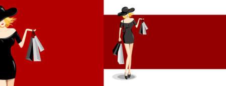 Mujer de moda con bolsa de compras sobre fondo rojo ilustración vectorial Ilustración de vector