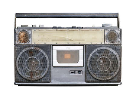 Old stereo isolated on white background