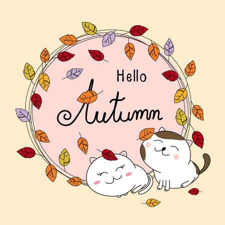 Autumn card design of couple cat and leaves fall vector illustration