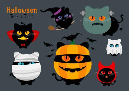 Set of halloween cats costume vector illustration