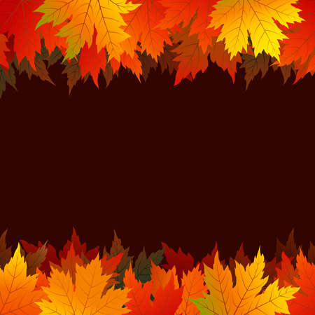 Autumn maple leaves on brown background with copy space vector illustration Illustration