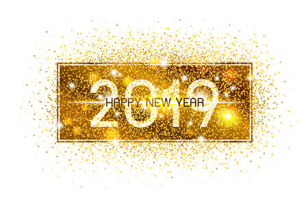 Happy new year 2019 design on white background vector illustration