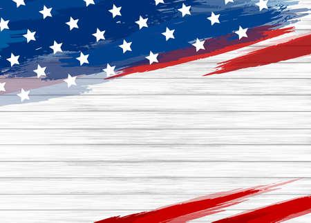 Pittura della bandiera americana sull'illustrazione di vettore del fondo di legno bianco Vettoriali