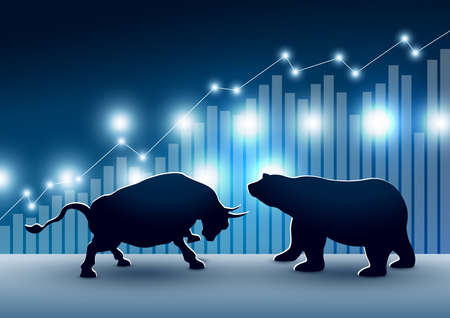 Diseño de mercado de valores de toro y oso con gráfico y gráfico ilustración vectorial