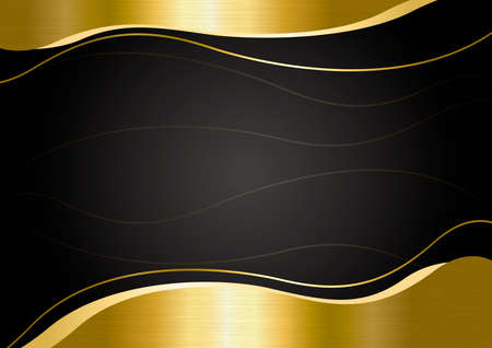 Gold metal banner on black background vector illustration