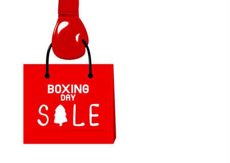 Boxing gloves holding shopping bag on white background vector illustration Illustration