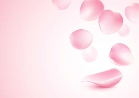 Rose petals falling on pink background vector illustration Illustration