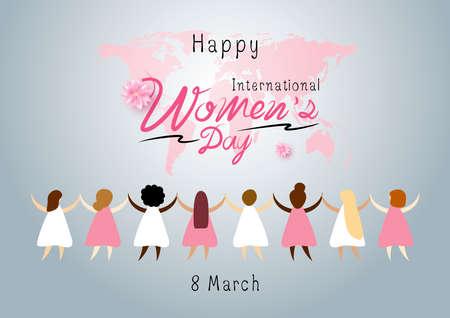 Illustration vectorielle de la Journée internationale de la femme du 8 mars Vecteurs