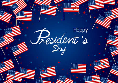 President's day design of america flag and sta on blue background vector illustration