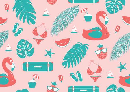 Summer seamless pattern design vector illustration