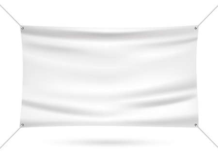 Illustrazione vettoriale di banner in vinile mock up bianco Vettoriali