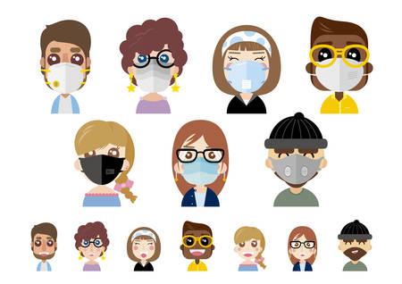 Personnes portant des masques anti-poussière sur illustration vectorielle fond blanc Vecteurs