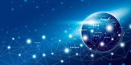 Progettazione di connessione di rete globale con illustrazione vettoriale di spazio di copia