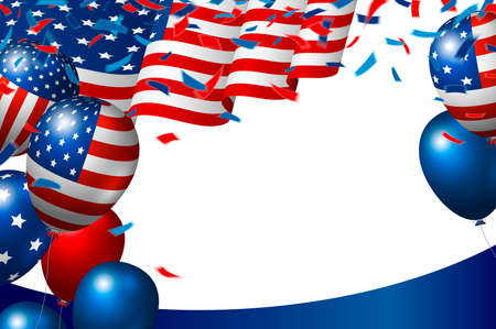 USA or american flag and balloon on white background vector illustration Illustration
