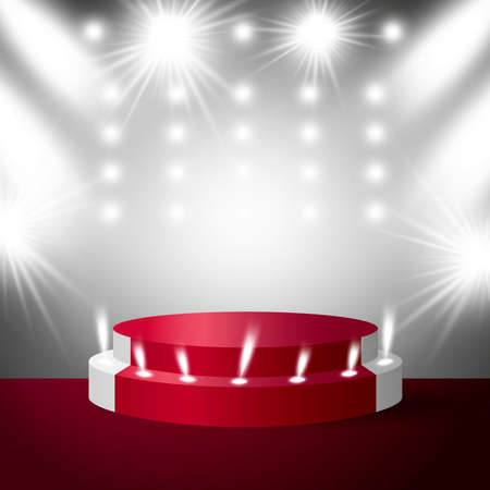 Stage podium with lighting vector illustration