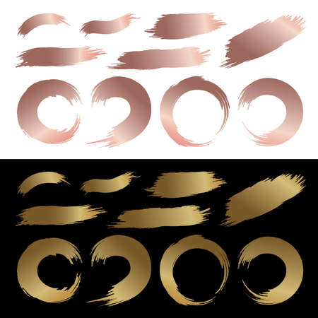 Set of gold and copper color brush stroke abstract paintbrush vector illustration Stock Illustratie