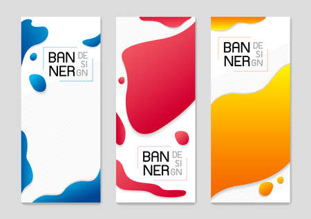 Set of abstract standing banner background design of fluid colors vector illustration