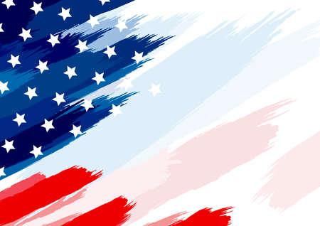 USA oder amerikanischer Flaggenpinsel auf weißer Hintergrundvektorillustration Vektorgrafik