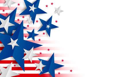 Étoile de papier sur fond blanc avec copie espace Jour de l'indépendance et illustration vectorielle de bannière de vacances Vecteurs