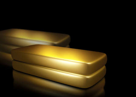Gold bars on black background with copy space