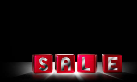 Sale cubes with light design on black background 3D render 스톡 콘텐츠 - 130162244