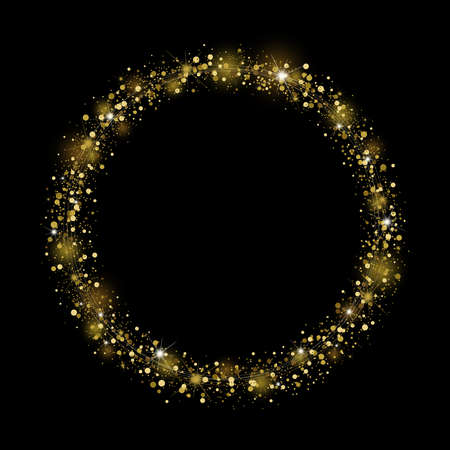 Gold glitter design on black background for christmas and new year vector illustration Imagens - 131758005