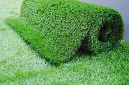 Artificial grass in the garden 版權商用圖片