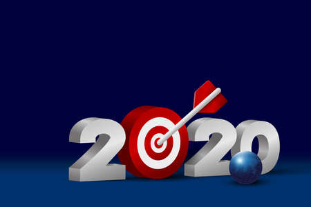 Business concept design of new year 2020 with target on blue background vector illustration