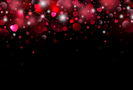 Valentines day background design of heart with bokeh light vector illustration