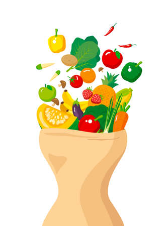 Vegetables and fruits with paper bag of body shape on white background vector illustration