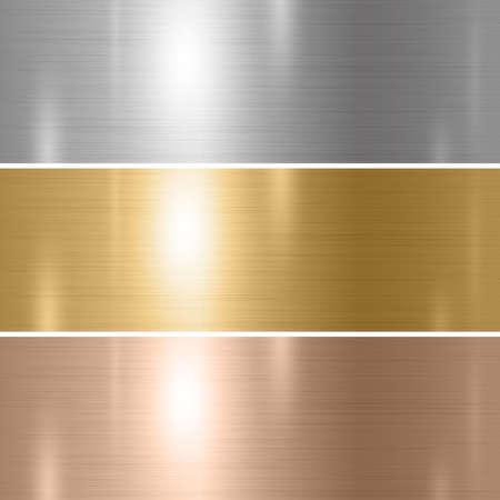 Set of silver gold copper metal texture background vector illustration Ilustração Vetorial