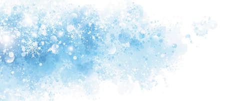 Winter and Christmas background design of snowflake on blue watercolor with copy space 矢量图像