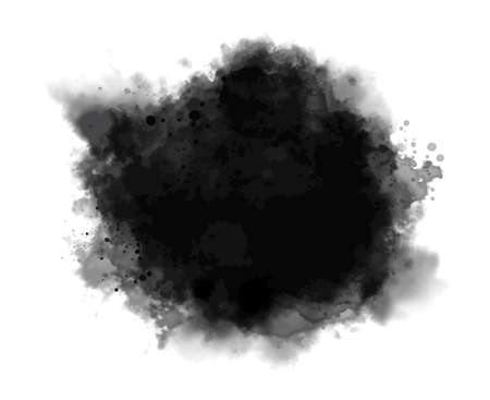 Black watercolor on white background vector illustration