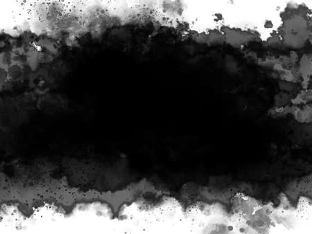 Black watercolor on white background with copy space grunge style illustration