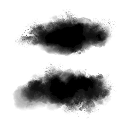 Black watercolor on white background grunge style vector illustration