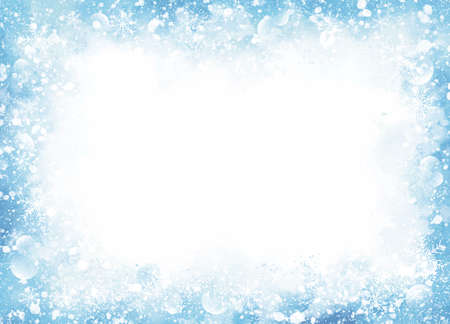 Winter and Christmas background design of snow and snowflake on blue watercolor with copy space vector illustration
