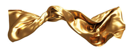 Gold fabric flying in the wind isolated on white background 3D render 免版税图像