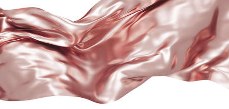 Rose gold fabric isolated on white background 3D render 免版税图像
