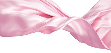 Pink fabric flying in the wind isolated on white background 3D render
