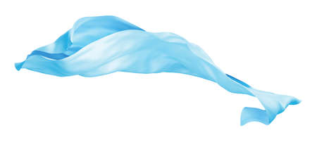 Blue cloth flying the wind isolated on white background 3D render
